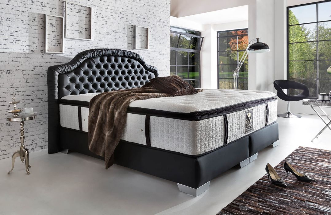 crown boxspringbett casino deluxe taschenfederkern matratze inkl topper chesterfield steppung. Black Bedroom Furniture Sets. Home Design Ideas