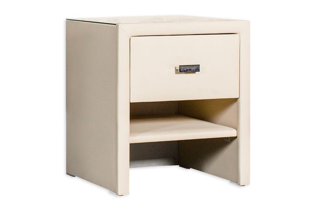 CROWN Nachtkonsole MICHIGAN I, Boxspringbett Nachttisch mit 1 Schublade, z.B. Schwarz/Weiß/Grau