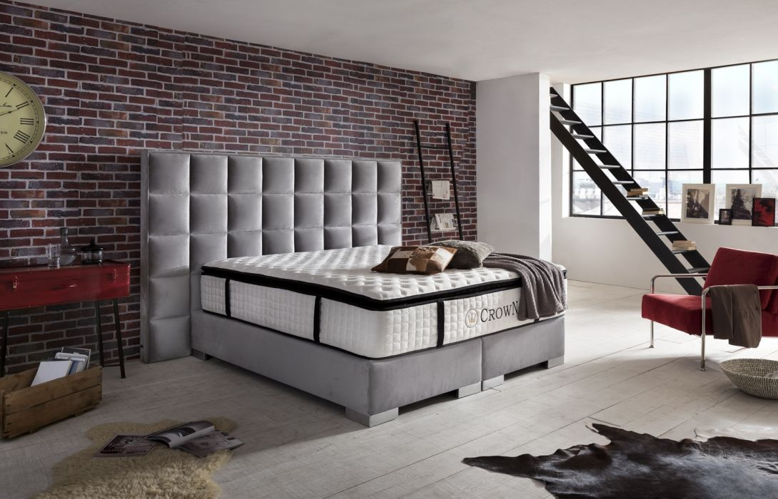 crown boxspringbett clarence deluxe hohe taschenfederkern matratze inkl topper z b. Black Bedroom Furniture Sets. Home Design Ideas