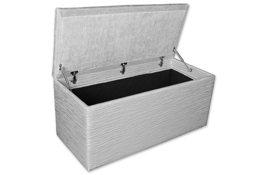 CROWN Truhe CASE, Boxspringbett Bettbank/Sitzbank mit Stauraum, z.B. Grau/Schwarz/Weiß