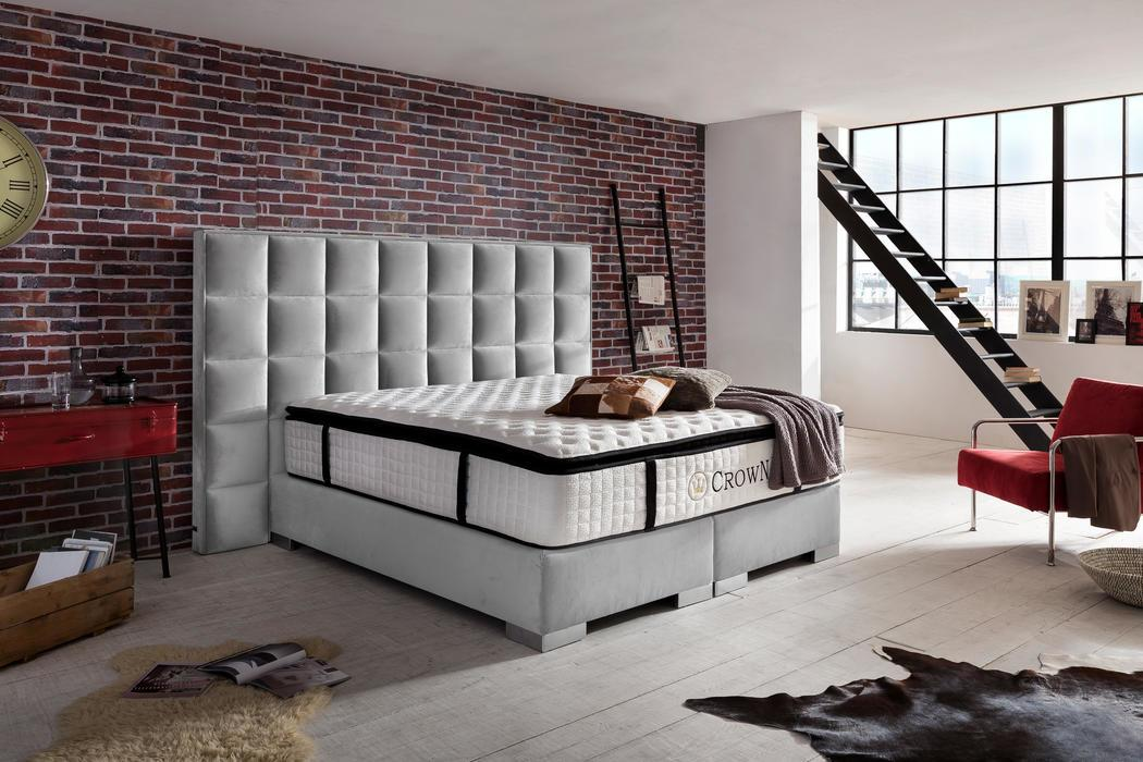 crown boxspringbett clarence deluxe hohe taschenfederkern matratze inkl topper z b. Black Bedroom Furniture Sets. Home Design Ideas