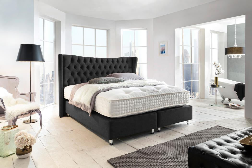 crown boxspringbett ludwig iii deluxe hohe taschenfederkern matratze inkl topper z b rot. Black Bedroom Furniture Sets. Home Design Ideas