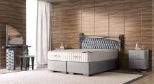 AUSSTELLUNG* CROWN Boxspringbett GALAXY Luxus Unikat, TFK Matratze, inkl. Nachtkonsole, Spiegel, Stuhl, Kosmetiktisch