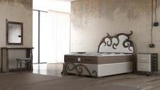 CROWN Boxspringbett URANUS Luxus Unikat, Taschenfederkern Matratze, inkl. Nachtkonsole, Spiegel, Stuhl, Kosmetiktisch