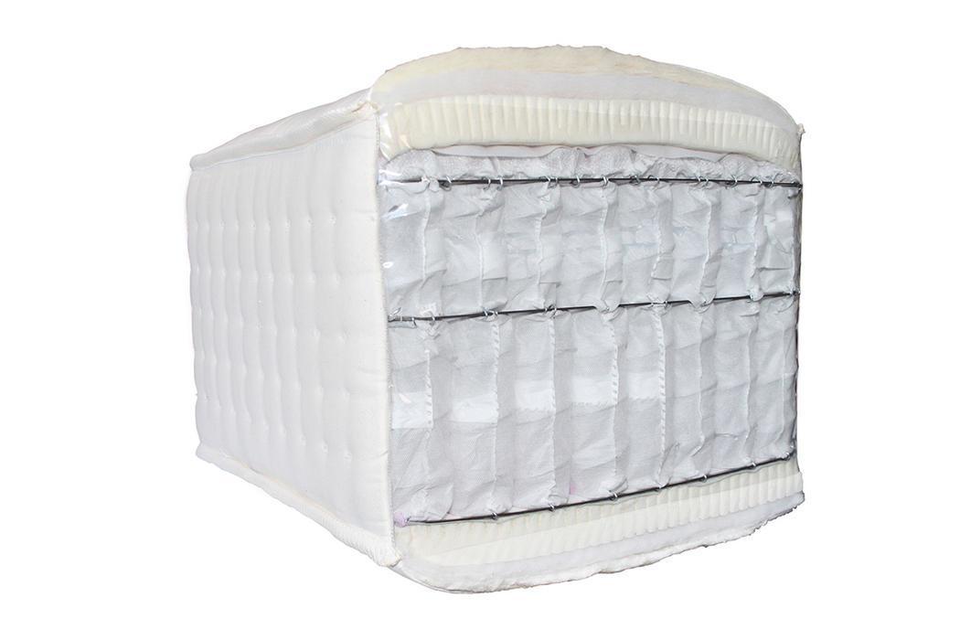 CROWN AURA, Amerikanische Boxspring Taschenfederkern-Matratze, 37 cm hoch, Handmade, Latex/Rosshaar, 160x200/180x200/200x200